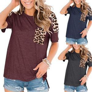 Womens Desiner camisetas Leopard bolso Painéis de manga curta Verão Tees gola casuais das mulheres camisetas