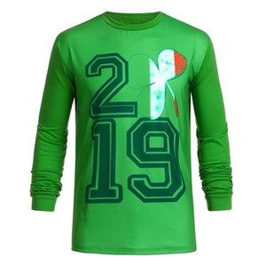 T-shirt à manches courtes drôle d'hommes 2019 Casual Mens Clothing Couple jour St Patrick Imprimer T-shirt Vert Top