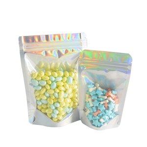 Голографическая Resealable Майларовых мешки для упаковки мешка Stand Up ЗАПАХ Proof Сумки Очистить фронт с алюминиевой фольгой Назад для хранения продуктов из пластика