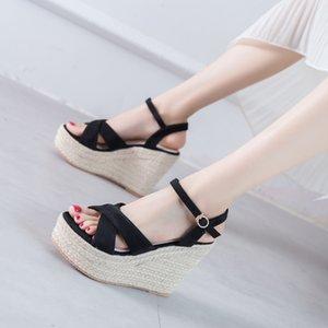 2020 Summer Comfort Shoes For Women High Heel Sandals Wedge Women's Heels Cross Suit Female Beige Open Toe Espadrilles