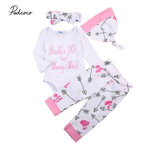 Newborn Baby Girls Boys Clothes Sets Letter Print Romper Jumpsuit + Floral Pants Leggings Headband+Hats 4pcs Outfit Set