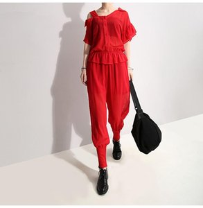 2019 Korean Style Women Solid Red Stylish Chiffon Romper Jumpsuit Short-Sleeve Stretchy Cuff Lady Casual Overalls Jumpsuit F657