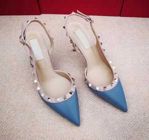 Frete grátis moda feminina bombas Casual Designer de ouro matt couro studded spikes back slingback sapatos de salto alto