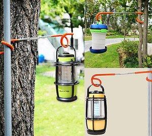 2pcs multifunción camping al aire libre de la linterna de la lámpara de suspensión de ganchos de toldo poste rieles Hook