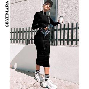 SEXEMARA Переднее застежка-молния с длинным рукавом Черное платье облегающие облегающие женские платья неоновая осень зима 2019 Мода уличная одежда C83AD93 D19011601