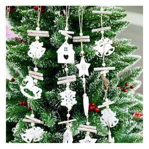 2018 Christmas Decoration For Home Door Santa Snowman Grand Tree Christmas Gift Xmas wooden Ornament Pendant Navidad Natale