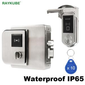 RAYKUBE étanche Serrure Fingerrint électronique avec lecteur de carte IC de vérification d'empreintes digitales Pour Outsite Porte IP65 Y200407