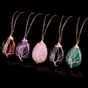 Charms albero della vita Filo pendenti della collana dell'involucro del legare guarigione naturale di pietra collane di cristallo di quarzo con la catena a maglia d'oro per i monili del regalo delle donne