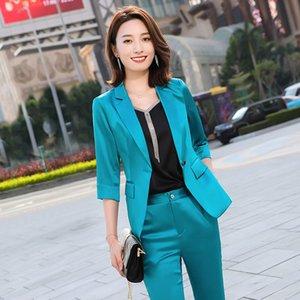 2020 New Women Vintage Blazer Pants Suit Office Ladies Blazer Jacket Pencil Trouser Casual Two Piece Sets Plus Size 4XL T01