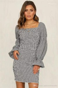 Collar de tela escocesa manga de la burbuja de vestir de manga larga casual Vestidos para mujer diseñador corto cuadrado retro falda