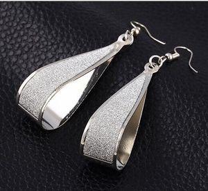 DHL Gold Silver Crystal Scrub Water Drop Hook Dangle Earrings Fashion Women Party rock club accessory for women nx