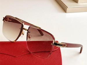 الموضة الجديدة مصمم النظارات الشمسية T8200984 نصف مربع إطار خشبي الساقين الكريستال قطع عدسة بسيطة شعبية أسلوب حار UV400 النظارات في الهواء الطلق