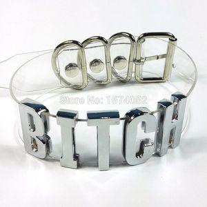 Handmade Women Men Unisex Punk Gothic 100% Silver Metal Letter Choker Clear Pvc Transparent Bitch Collar Name Word Necklace J 190429