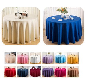 16 colores mantel cubierta de tabla redondo / rectangular 100% mantel de la cena el cuadro de tela de poliéster lavable en casa para el banquete de boda del partido