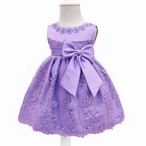 Boncuk On The Boyun Ve Big Bow On The Bel Pamuk Malzeme İçinde Prenses Etek ile Bebek Kız Dantel Elbise