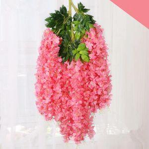 110CM Dense Wisteria fiore di seta artificiale della vite del fiore elegante Glicine Rattan Wedding Garden Home decorazione della festa TTA1988