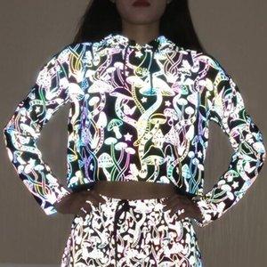 Glowing Hip Pop Streetwear Mushroom Pattern Women Pullover Reflective Hoodies Long Sleeve Casual Sweatshirt Night Shiny Crop Top Y200706