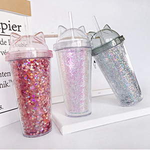 Ear glitter double milk tea cup children's baby cartoon cute water cup creative sequin plastic straw juice cup ZZA345