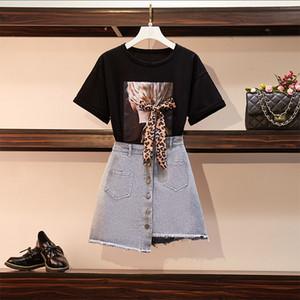 Hamaliel Yaz Kadın XL-5XL Artı Boyutu 2 Parça Set Moda Leopar Baskı Yay Gevşek T-shirt + Düzensiz Kot Püskül Etekler Takım Elbise