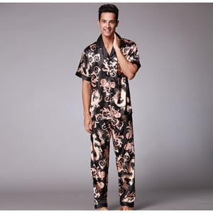 Erkekler Leke İpek Pajama T-shirtLong Pantolon Elastik Bel Erkekler Pijama Seksi Modern Stil Yumuşak Boş Ev Giyim Loungewear