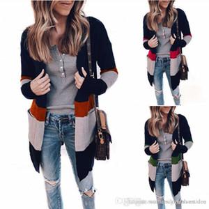 Diseñador de las mujeres abrigos de invierno de los suéteres Cardigan con bolsillos ocasional otoño de manga larga suéteres de moda femenina ropa de punto Panelle