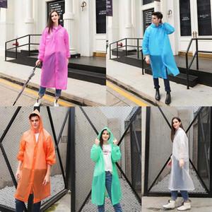 PEVA Raincoat 5 Farben Wiederverwendbare Transparent Regen-Mantel-Frauen Erwachsener im Freien wandernde Wasserdichte Bremse Regen Jacke LJJO7846