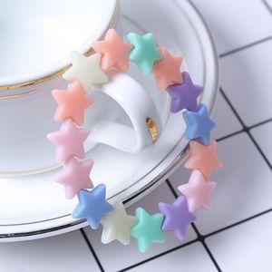 New candy cor estrela de cinco pontas frisado acrílico crianças charme pulseiras kids birthday party presente pulseiras jóias