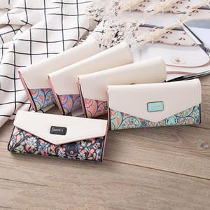 Women's Korean Embroidery Envelope PU Leather Zipper Button Hands Zero Wallet