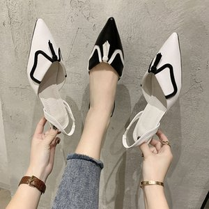 20200607 Net red Roman tassel, pointed head, thin heel, middle heel, Baotou sandal, fairy word, cat heel, back empty single shoes, INS tre