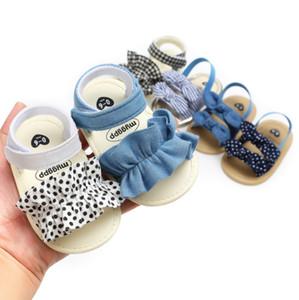 Baby Girl Sandales Dotted Bow Chaussures bébé toile de coton Newborn sandales de plage d'été à carreaux Princesse Chaussures 6 Designs DW4250