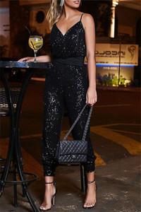 Frauen Sexy Pailletten Strap Overalls Sommer Designer Backless V-Ausschnitt Elegante Hosen Femlaes Nachtclub Schärpen Strampler