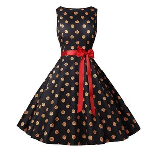 Saints Day Frauen-beiläufige Kleider Mode Herbst-Kürbis-Kopf-Druck Schärpen Frauen Kleider Mode Weibliche Kleidung