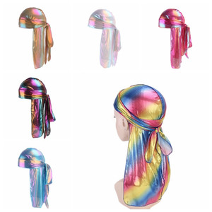 Mode Unisexe Respirant Bandana Laser Hip-Hop Turban Chapeau Soyeux Bonnets Headscarf Longue Queue Headwrap Crâne TTA1404