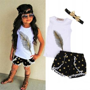 3pcs lot baby girl feather sleeveless tops and short pants and headband for kids girl boutique clothes