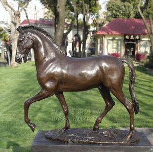 Bakır at at heykeli, bronz heykel el sanatları süsler zodyak takı hediye Ev Mobilya Çin Village