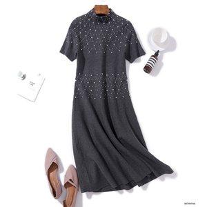womens designer French romantic temperament niche semi-high collar heavy industry sequins knit autumn A word long dressP2TH C8A6