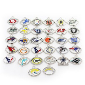 US Football Team Wholesale 640pcs lot Dangle Charms Sports Charms DIY Bracelet Necklace Pendant Jewelry Hanging Charms