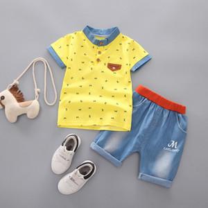 Bebek Pamuk Erkek Şort Kot Pantolon Spor Takım Elbise Bebek Çocuk Moda Kısa Kollu T Gömlek Kot Giysileri Setleri B02