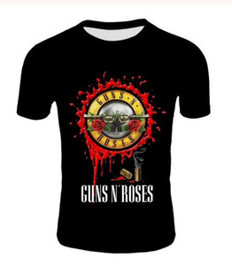 Il nuovo modo punk maglietta Guns N Roses T-shirt da uomo nero maglietta Heavy Metal Top Gun 3D Rosa della stampa del vestito Hip Hop Tees