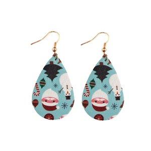 Christmas Teardrop Leather Earrings for Women Santa Patterns Water Drop Dangle Earrings Christmas Gift Fashion Jewelry