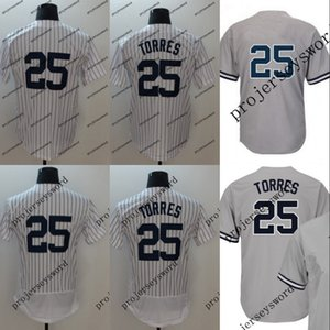 Günstige Baseball-Shirt Herren 25 Gleyber Torres 18 Didi Gregorius 2 Derek Jeter 24 Gary Sanchez Baseball-Shirt Weiß Grau