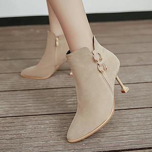 신부 럭셔리 뾰족한 발가락 하이힐위한 새로운 봄 가을 스웨이드 가죽 베이지 블랙 특허 웨딩 신부 신발 여성 부츠 디자이너 펌프