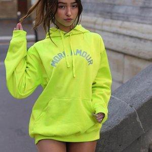 HOUZHOU lunga con cappuccio Donne Streetwear Lettera Reflective Hoodies Donne felpa moda 2020 Hip Hop Hoddies Dropshipping