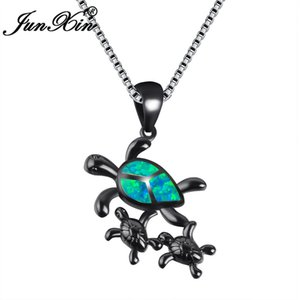 JUNXIN Nuevo Vintage Negro Gold Filled Cute Turtle Family Design Ocean Blue / White Fire Opal colgantes collares para mujeres NL0145