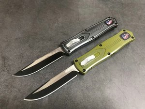 Factory price 2 Handle Colors Auto Tactical Knife 440C Drop Point Blade Outdoor Survival Rescue Knives With Nylon Bag