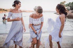 Beach abordable Deux Morceaux De demoiselles d'honneur Robe 2021 avec manches courtes Tea Longueur Longueur de lacets Dentelle Designer Wedding Guest Boho Robe