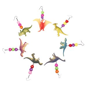 Cute Dinosaur Animals Drop Earrings Punk Party Heart Dangle Earrings Exaggerated Whimsy Jewelry Creative Gift For Women Girl