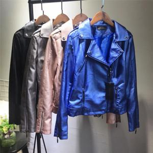 Женская PU кожаная куртка весна-осень Новые кожаные куртки Lady Slim с локомотивным пальто Nancylim