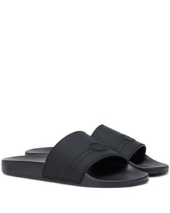 2019 мужских женские унисекс марочного логотип-украшено Rubber скольжения на слайды плоских туфлях открытых круглые сандалии ног