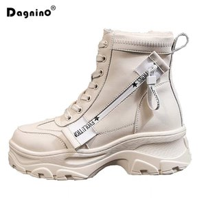 Women Thick Bottom Snow Boots 2019 Lace Up  Boots Female Ankle  Zipper Brand Winter Warm Platform Wedge Heel Shoes